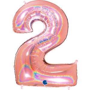Rose Gold Holographic Supershape Balloon Number 2 (100cm)