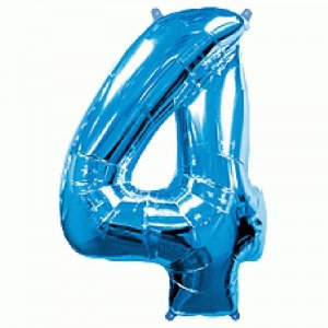 Supershape Balloon Number 4 Four Blue (100cm)