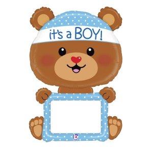 Αρκουδάκι It's A Boy Ασπροπίνακας Μπαλόνι Supershape