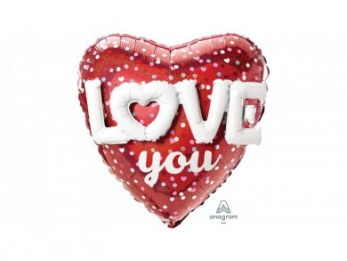 Heart With 3D Design Love You Supershape Balloon (91cm)