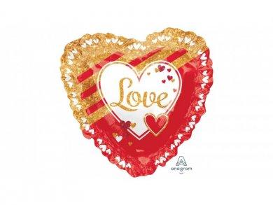 Καρδιά Μπαλόνι Supershape Love You με Χρυσά Σχέδια (71εκ)