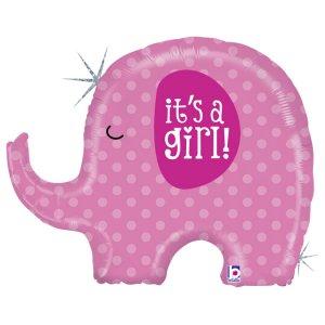 Μικρό Ελεφαντάκι Ροζ It's A Girl Ολογραφικό Τύπωμα Μπαλόνι Supershape