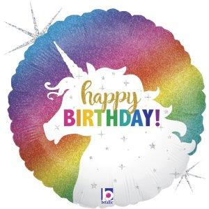 Unicorn Multicolor Design Happy Birthday Supershape Balloon
