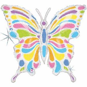 Πεταλούδα Πολύχρωμη Ολογραφικό Τύπωμα Μπαλόνι Supershape
