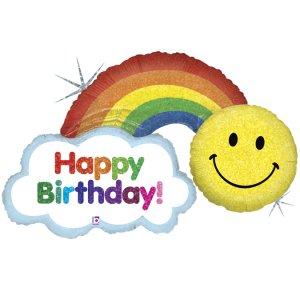 Rainbow With Sun Happy Birthday Balloon Supershape