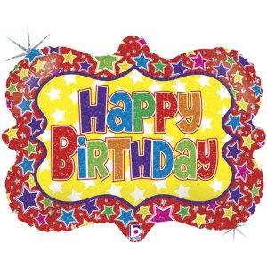 Πολύχρωμα Αστέρια Για Γενέθλια Happy Birthday Ολογραφικό Τύπωμα Μπαλόνι Supershape