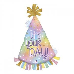 Μπαλόνι Supershape σε Σχήμα Καπέλου με Παστέλ Χρώματα και Μήνυμα It's Your Day (86εκ)