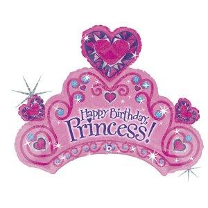 Princess Crown Pink Happy Birthday Holographic Design Balloon Supershape