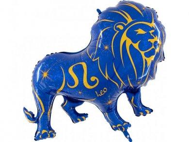Ζώδιο Λέων Μπλε και Χρυσό Μπαλόνι Supershape
