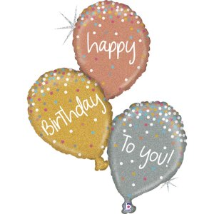 Three Balloons in One Supershape Balloon Happy Birthday Holographic and Glitter Design