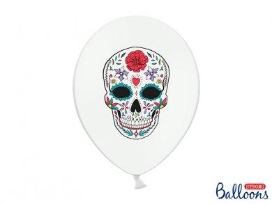 Μπαλόνια Άσπρα Λάτεξ Dia De Los Muertos (6τμχ)