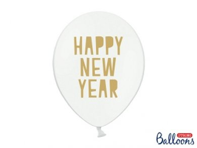Άσπρα Λάτεξ Μπαλόνια Με Χρυσό Τύπωμα Happy New Year 6τμχ