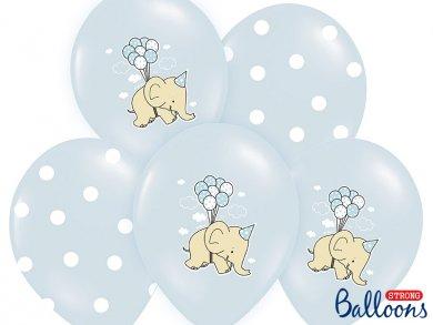 Little blue elephant and dots latex balloons (6pcs)