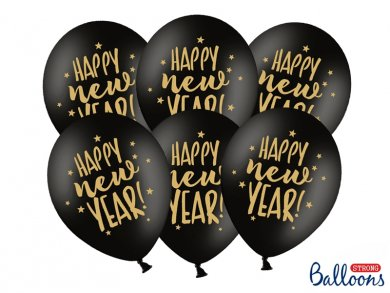 Μαύρα Μπαλόνια Λάτεξ Με Χρυσό Τύπωμα Happy New Year (6τμχ)