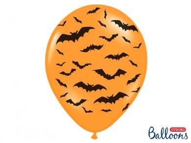 Πορτοκαλί λάτεξ μπαλόνια με τύπωμα Νυχτερίδες (6τμχ)