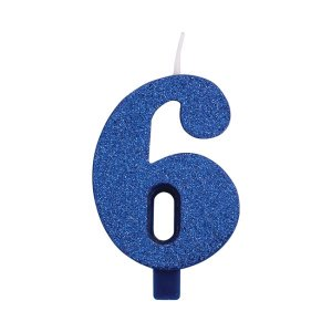Blue Glitter Cake Candle Number 6 (7,5cm)