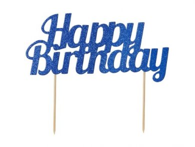 Blue with Glitter Happy Birthday Cake Topper