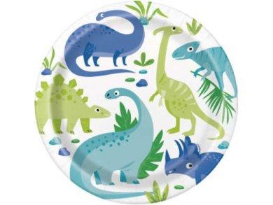 Μπλε και Πράσινοι Δεινόσαυροι Μεγάλα Χάρτινα Πιάτα (8τμχ)