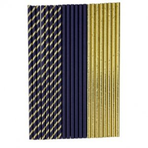 Blue and Gold Paper Straws (22pcs)