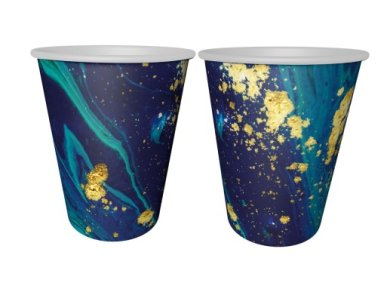 Blue and Gold Marble Design Paper Cups (6pcs)