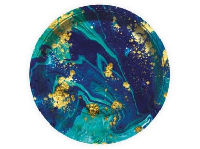 Blue and Gold Marble Design Large Paper Plates (6pcs)