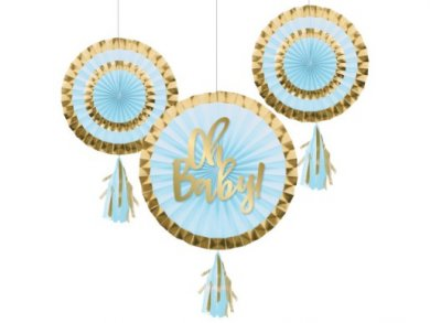 Oh Baby Pale Blue and Gold Hanging Fans with Tassels (3pcs)