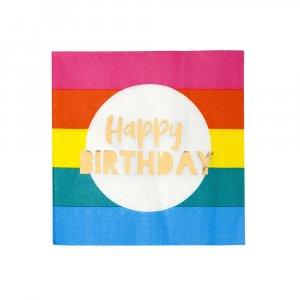 Rainbow Gold Foiled Luncheon Napkins Birthday (16pcs)