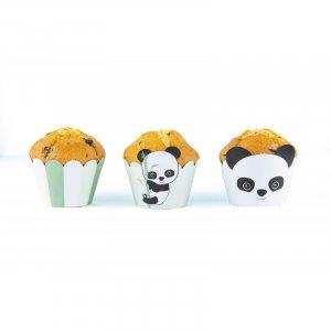 Panda Διακοσμητικά Περιτυλίγματα Για Cupcakes (6τμχ)