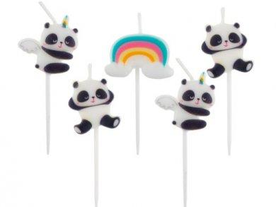 Panda and Rainbow Cake Candles (5pcs)