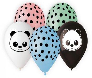 Panda and Dots Latex Balloons (5pcs)