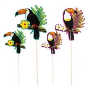 Παπαγάλοι Τουκάν Διακοσμητικές Οδοντογλυφίδες (4τμχ)