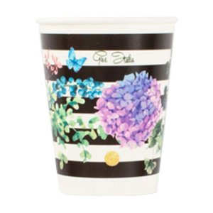 Floral with Black and White Stripes Paper Cups (8pcs)