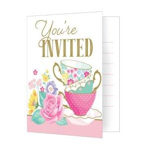 Floral Tea Party Invitations (8pcs)