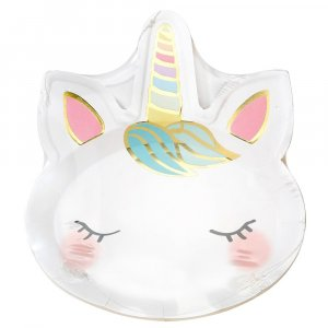 Pastel Unicorn Shaped Paper Plates Party Supplies For Girls (8pcs)