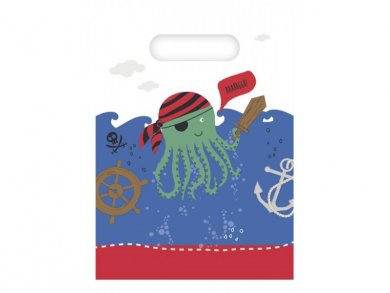 Pirates in The Sea Plastic Loot Bags (6pcs)
