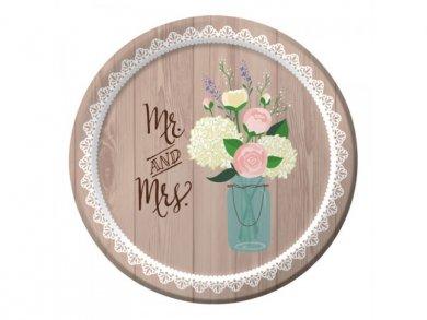 Μικρά Χάρτινα Πιάτα Mr and Mrs Rustic (8τμχ)