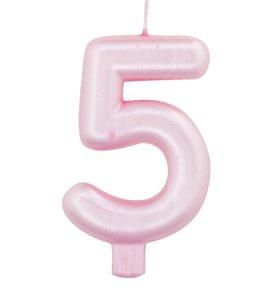Ροζ Περλέ Κερί για Τούρτα Αριθμός 5 (Πέντε)