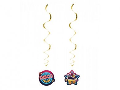 Disco Fever Hanging Swirl Decorations (2pcs)