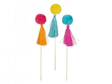Colorful Pom Poms with Tassels Decorative Picks (6pcs)