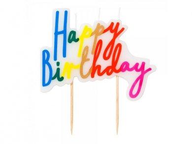 Πολύχρωμο Κερί Πλακέτα Happy Birthday για Τούρτα