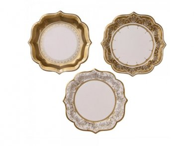 Porcelain Gold Large Paper Plates 12pcs