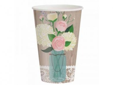 Rustic Mr and Mrs Large Paper Cups (8pcs)