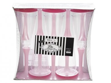 Champagne Plastic Flutes Glasses in Clear and Pink Color (10pcs)