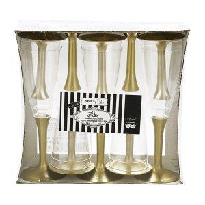 Ποτήρια Σαμπάνιας Διάφανα Πλαστικά Με Χρυσή Βάση Είδη Πάρτυ Με Θέμα Το Χρώμα