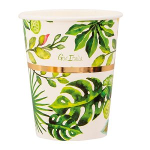 Chic Τροπικά Φύλλα Ποτήρια Χάρτινα (8τμχ)