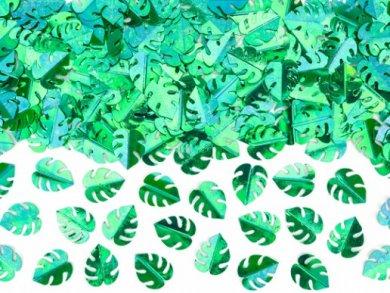 Metallic Green Tropical Leaves Table Confettis (15g)