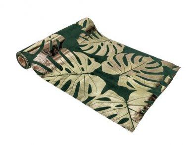 Πράσινο Βελούδινο Runner με Χρυσά Τροπικά Φύλλα (28εκ x 3μ)