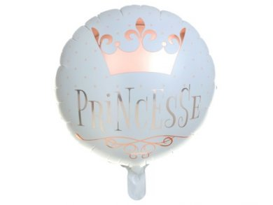 Princess White Foil Balloon with Rose Gold Print (45cm)