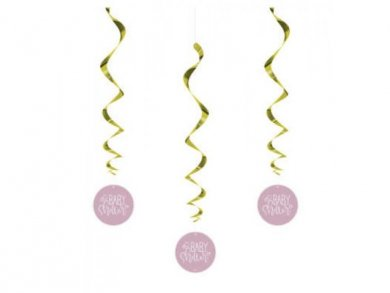 Pink Baby Shower Swirl Hanging Decorations (3pcs)