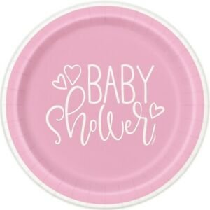 Ροζ Baby Shower Μεγάλα Χάρτινα Πιάτα (8τμχ)
